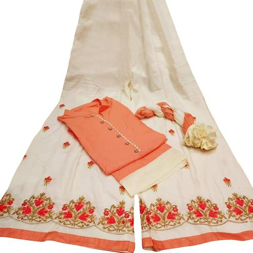 Impressive Peach Colored Partywear Embroidered Cotton Palazzo Suit