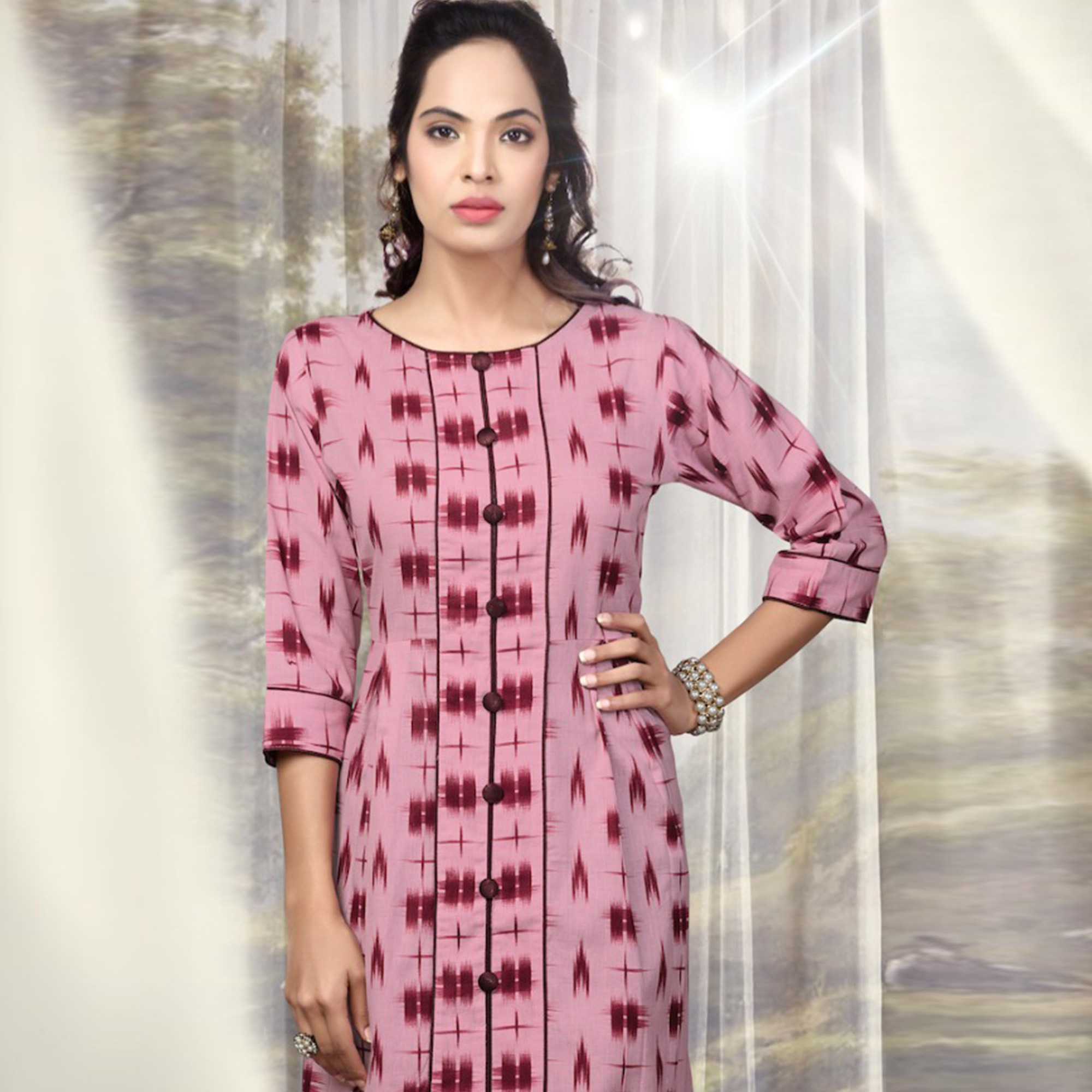 Fashionable Pink Colored Partywear Printed Cotton Kurti