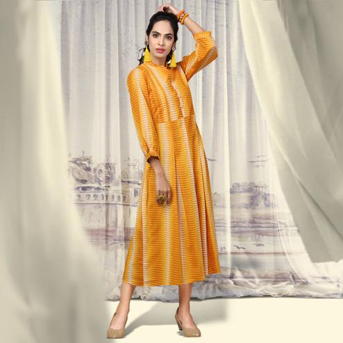 Magnificent Yellow Colored Partywear Printed Cotton Kurti