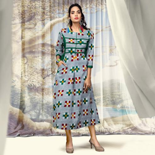 Stunning Light Gray Colored Partywear Printed Cotton Kurti