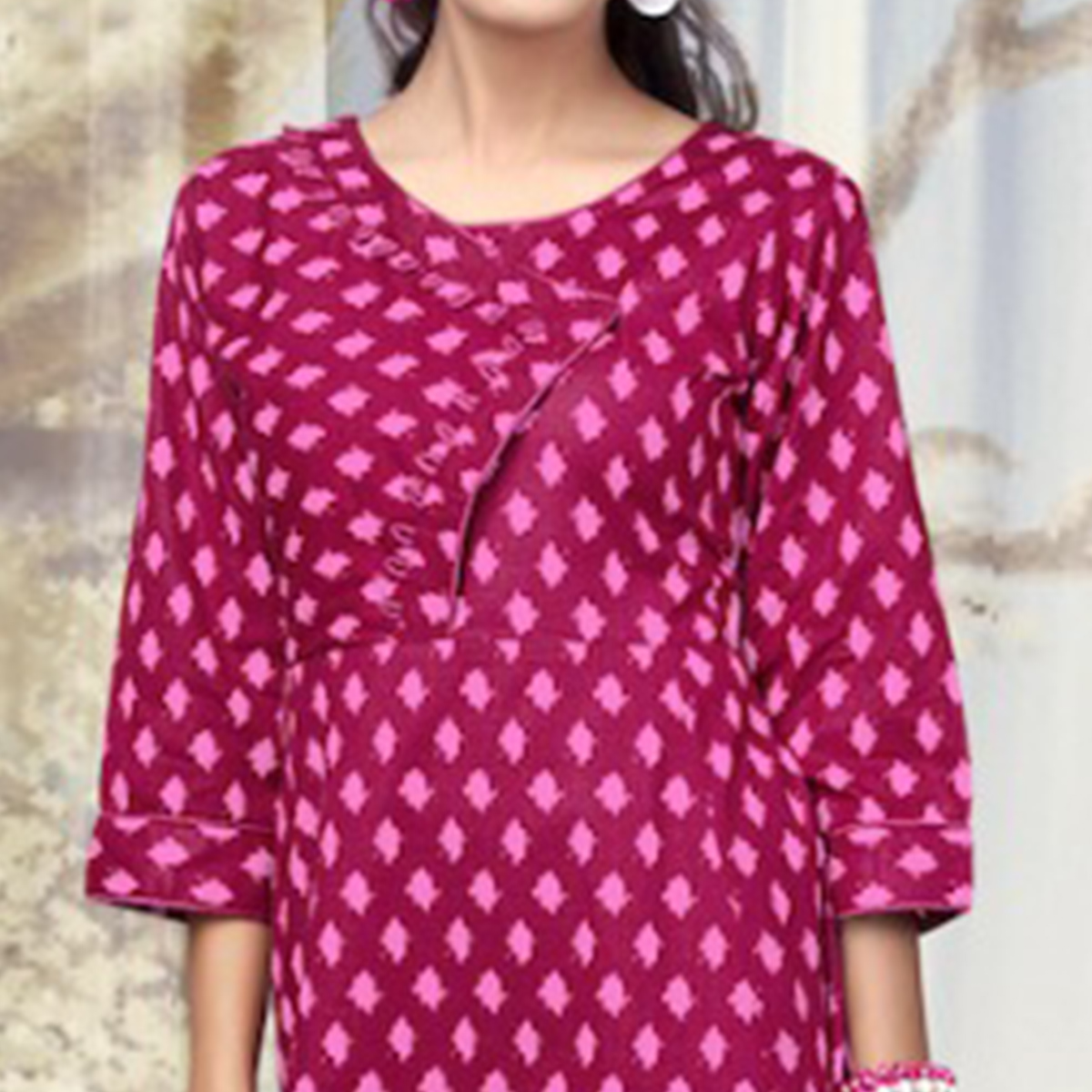 Charismatic Dark Pink Colored Partywear Printed Cotton Kurti