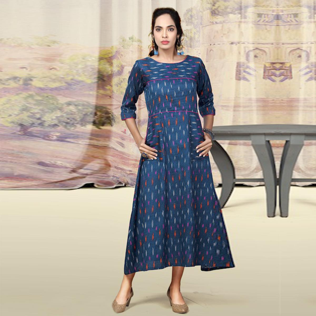 Staring Blue Colored Partywear Printed Cotton Kurti