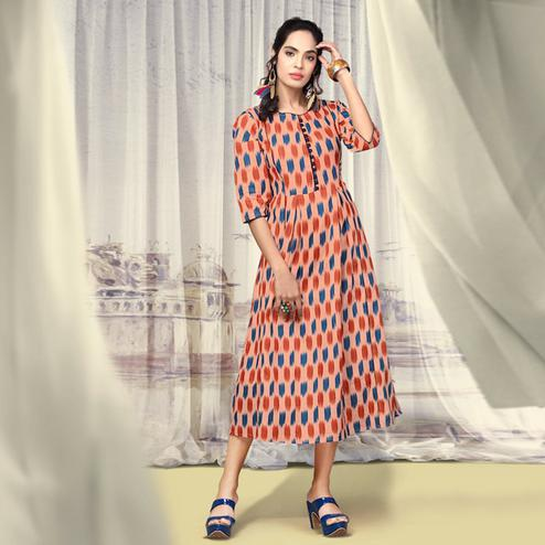 Flattering Peach Colored Partywear Printed Cotton Kurti