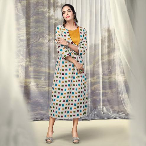 Impressive Off-White Colored Partywear Printed Cotton Kurti