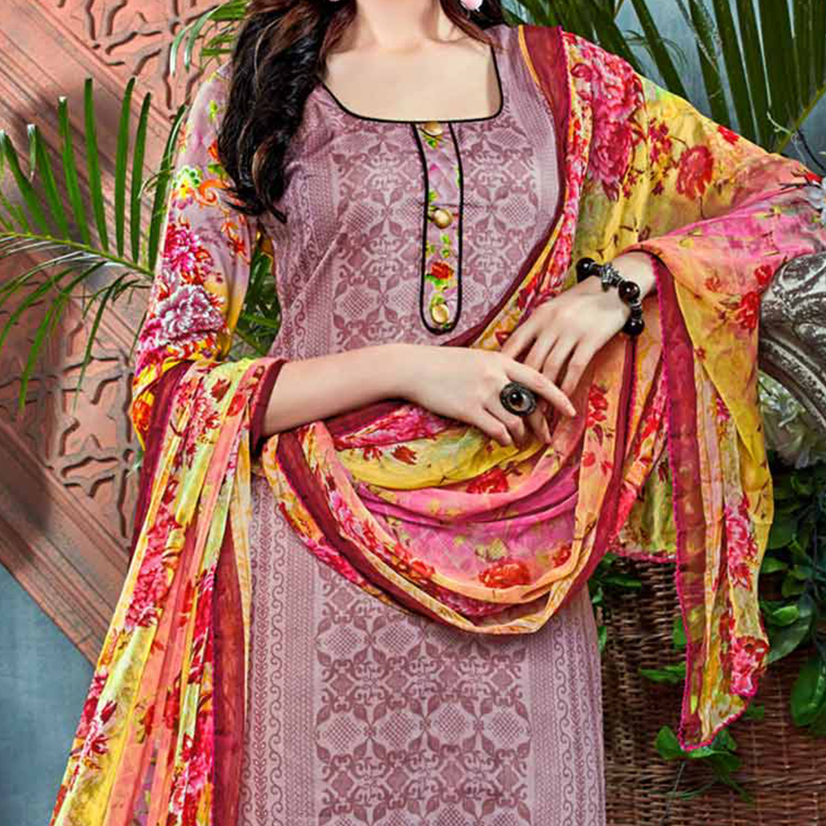 Classy Multi Floral Digital Printed Partywear Dress Material