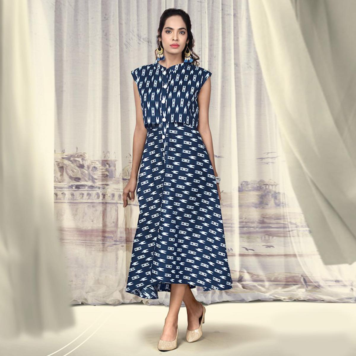 Classy Blue Colored Partywear Printed Cotton Kurti
