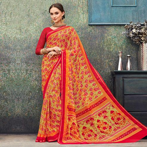 Pretty Yellow - Red Colored Casual Wear Printed Chiffon Saree
