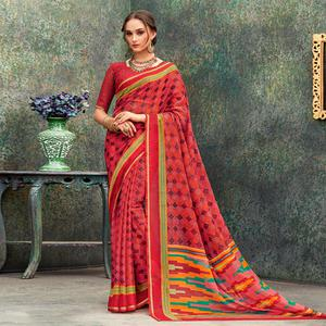 Beautiful Red Colored Casual Wear Printed Chiffon Saree