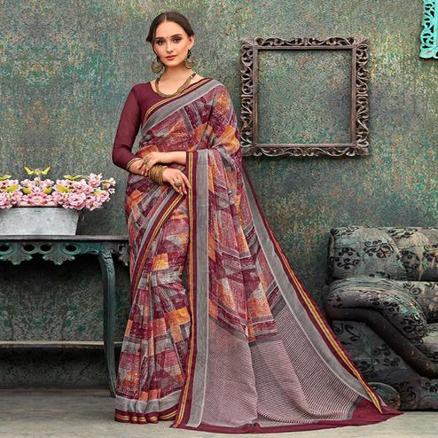 Alluring Grey - Multi  Colored Casual Wear Printed Chiffon Saree