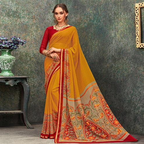 Attractive Mustard Yellow Colored Casual Wear Printed Chiffon Saree