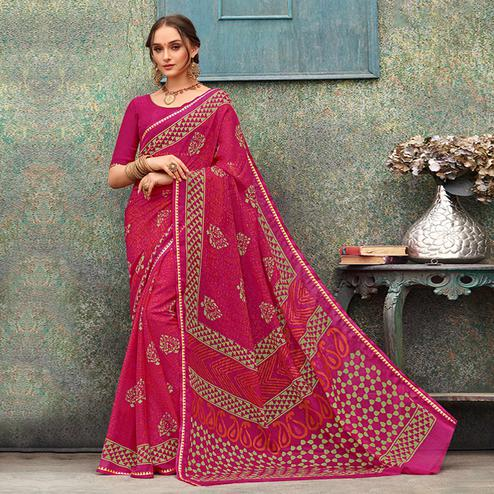 Lovely Pink Colored Casual Wear Printed Chiffon Saree