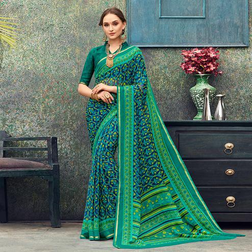 Graceful Blue - Green Colored Casual Wear Printed Chiffon Saree