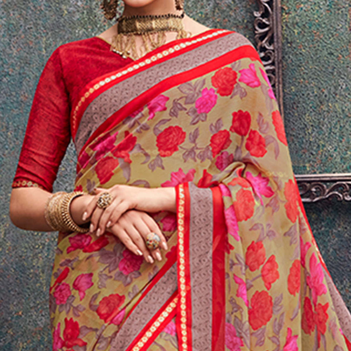 Amazing Beige Colored Casual Wear Printed Chiffon Saree