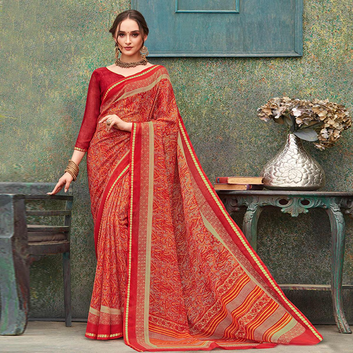 Elegant Red Colored Casual Wear Printed Chiffon Saree