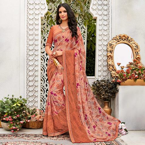 Elegant Peach Colored Casual Wear Printed Chiffon Saree