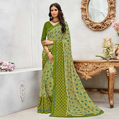 Alluring Green Colored Casual Wear Printed Chiffon Saree