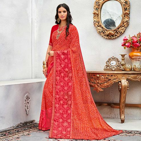 Radiant Orange - Pink Colored Casual Wear Printed Chiffon Saree