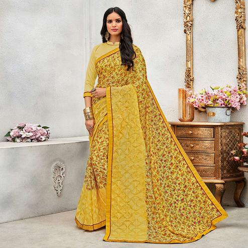 Stunning Yellow Colored Casual Wear Printed Chiffon Saree