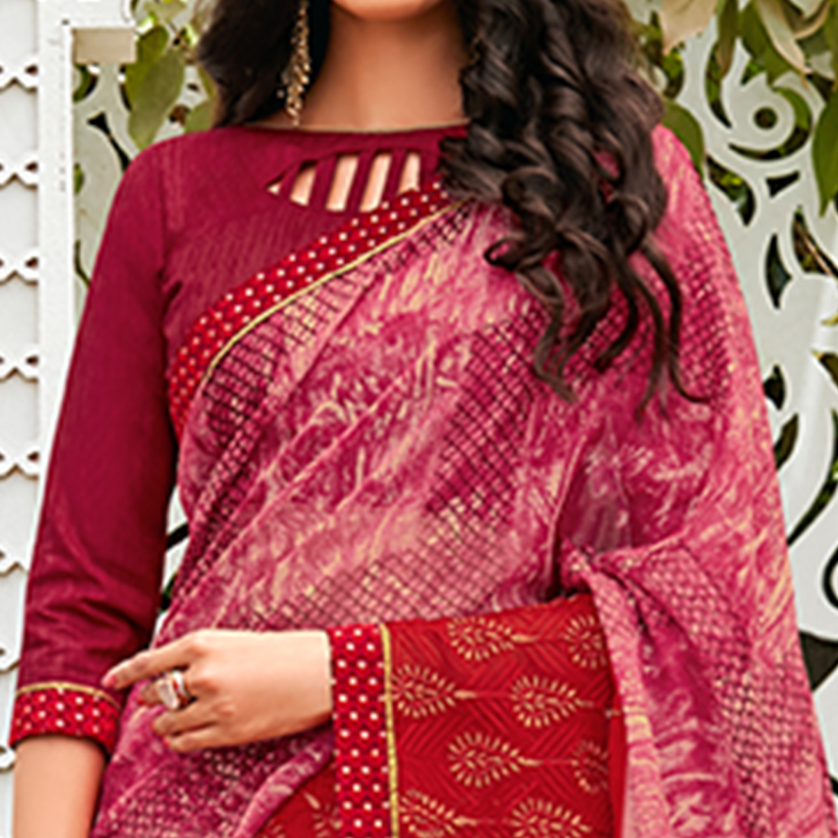 Blooming Magenta Pink Colored Casual Wear Printed Chiffon Saree