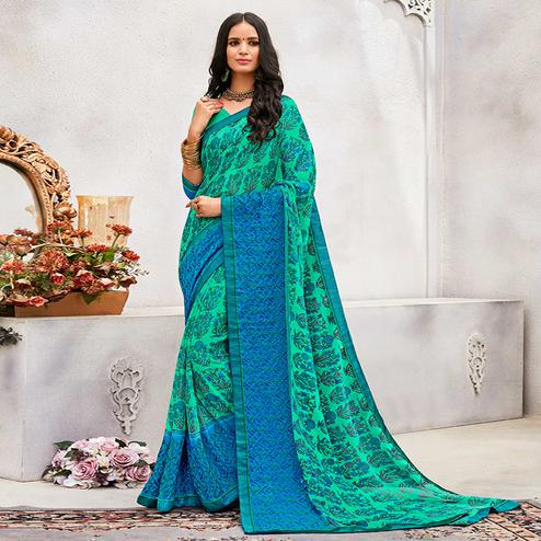 Mesmerising Green - Blue Colored Casual Wear Printed Chiffon Saree