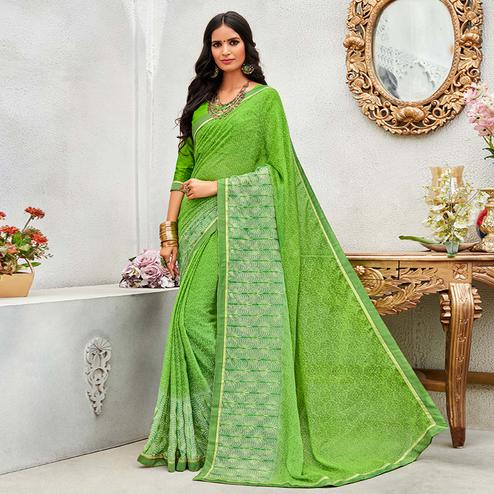 Eye-catching Light Green Colored Casual Wear Printed Chiffon Saree