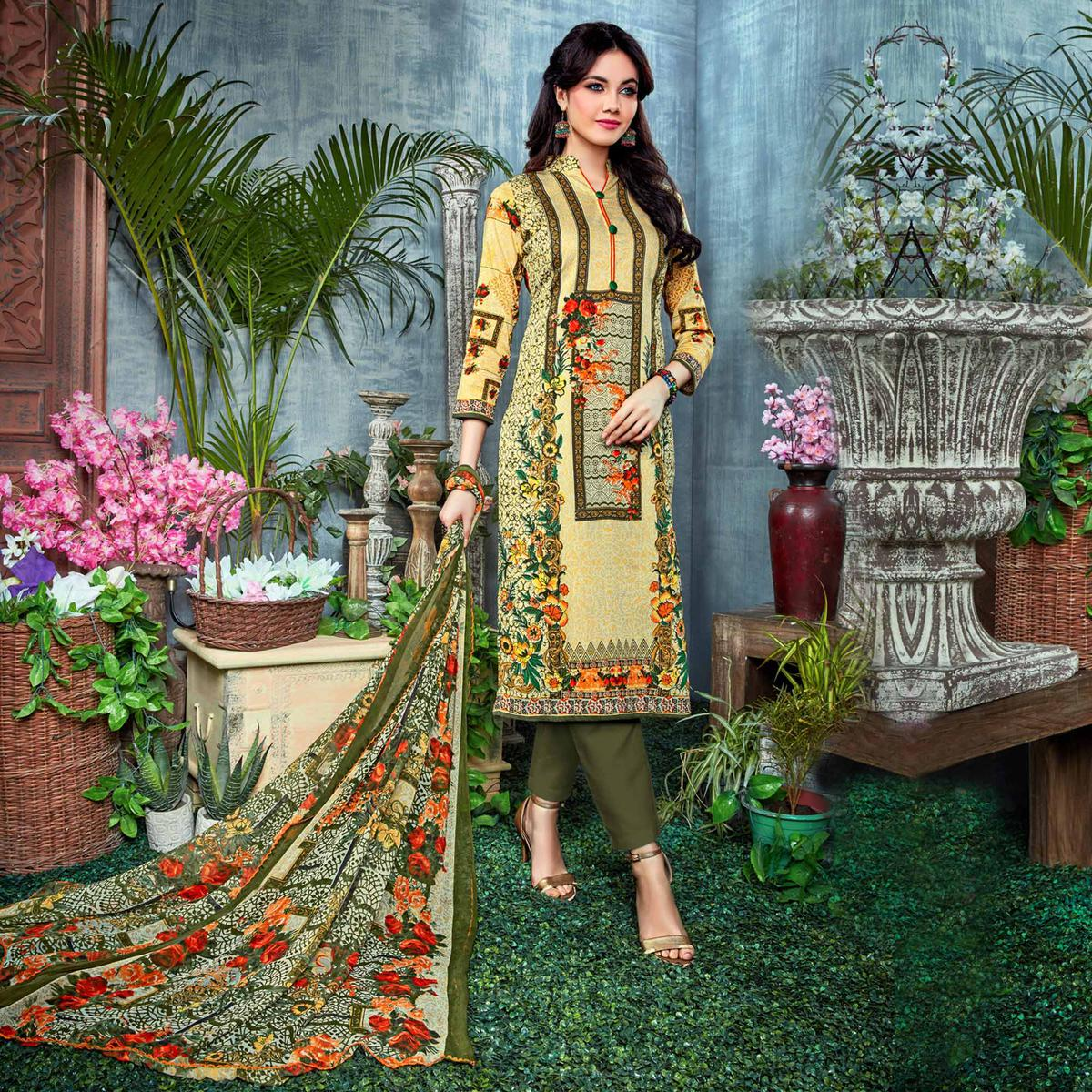 Elegant Light Yellow - Green Digital Printed Partywear Dress Material