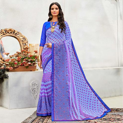 Preferable Blue Colored Casual Wear Printed Chiffon Saree