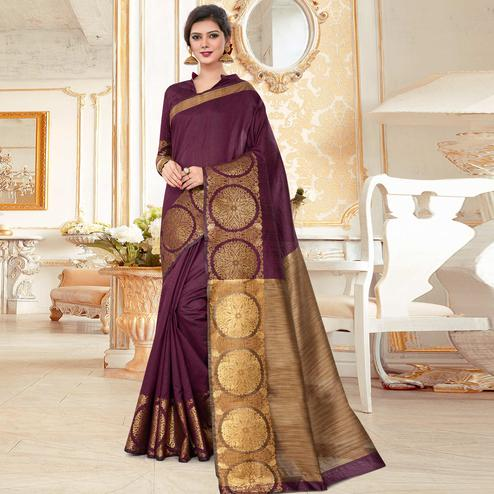 Gleaming Wine Colored Festive Wear Woven Work Cotton Silk Saree