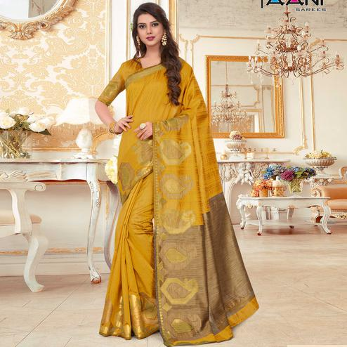 Arresting Mustard Yellow Colored Festive Wear Woven Work Cotton Silk Saree