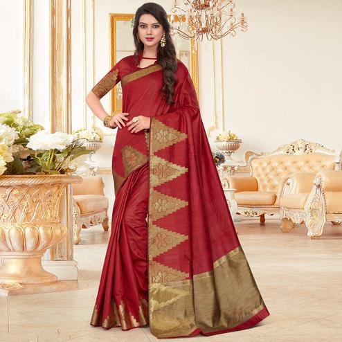 Exceptional Maroon Colored Festive Wear Woven Work Cotton Silk Saree