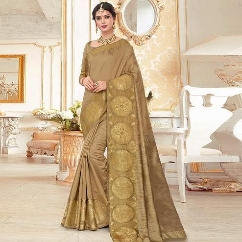 Excellent Beige Colored Festive Wear Woven Work Cotton Silk Saree