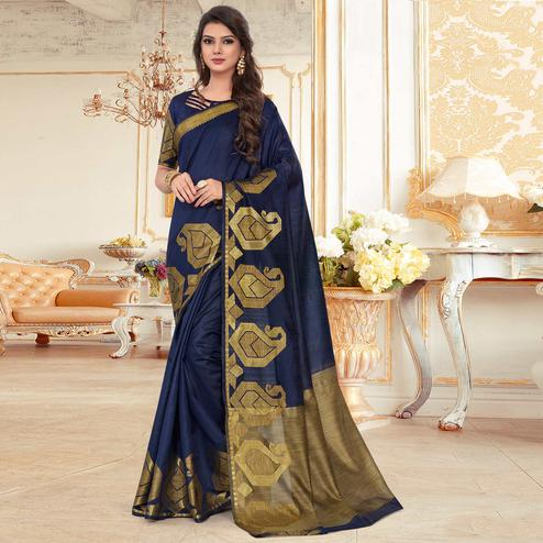Ethnic Blue Colored Festive Wear Woven Work Cotton Silk Saree