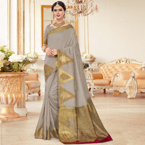 Starring Grey Colored Festive Wear Woven Work Cotton Silk Saree