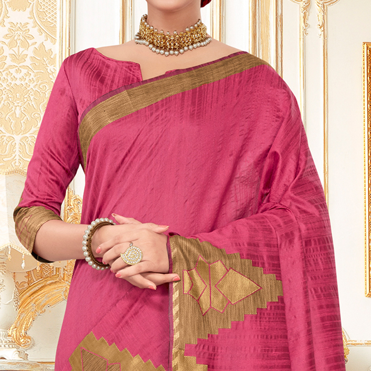 Imposing Pink Colored Festive Wear Woven Work Cotton Silk Saree
