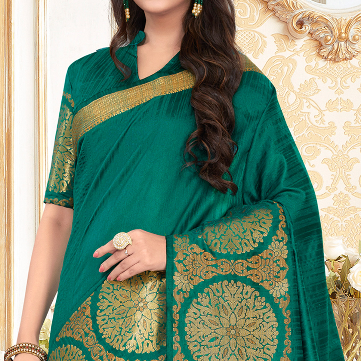 Staring Green Colored Festive Wear Woven Work Cotton Silk Saree