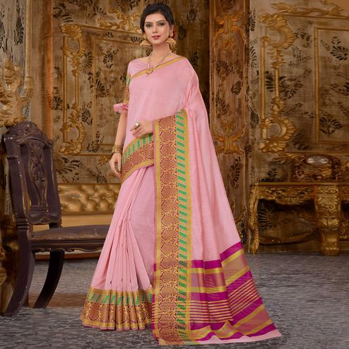 Elegant Pink Colored Festive Wear Cotton Silk Saree