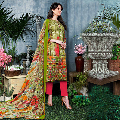 Gorgeous Green Digital Printed Partywear Dress Material