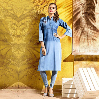 Stylish Blue Denim Designer Embroidered Kurti