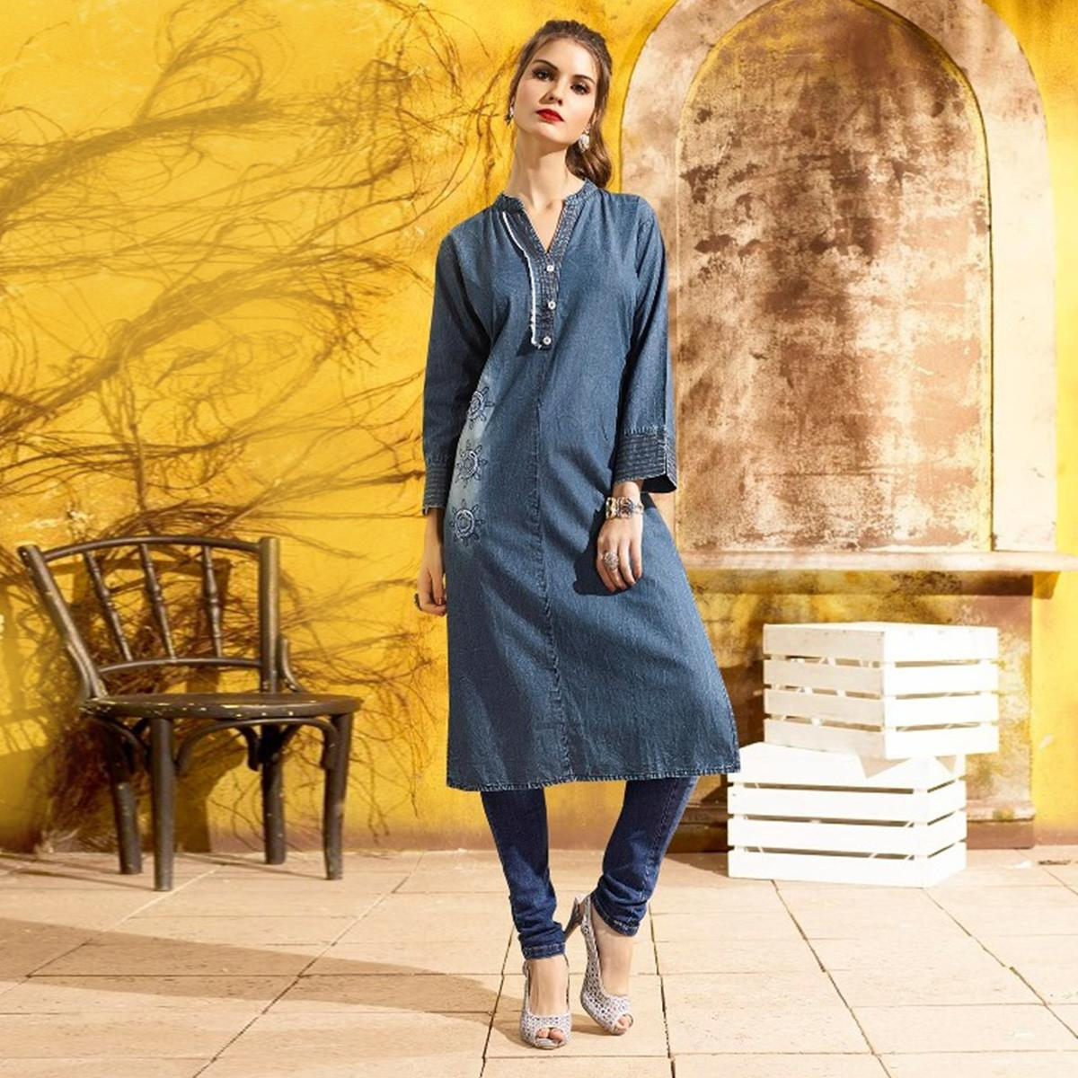 Stunning Blue Denim Designer Embroidered Kurti