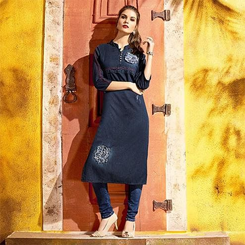 Casual Blue Denim Designer Embroidered Kurti