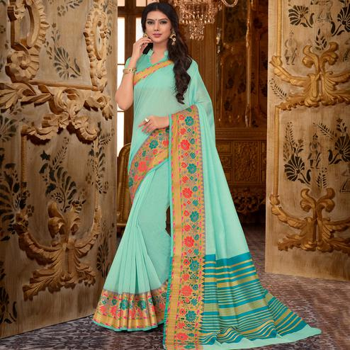 Unique Aqua Green Colored Festive Wear Cotton Silk Saree