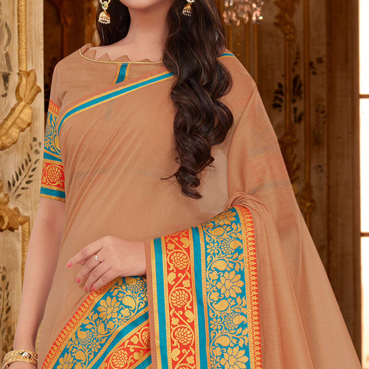 Alluring Light Brown Colored Festive Wear Cotton Silk Saree
