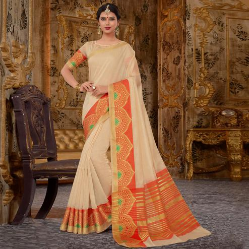 Dazzling Off White Colored Festive Wear Cotton Silk Saree