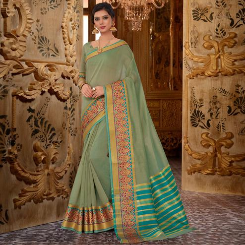Flattering Green Colored Festive Wear Cotton Silk Saree