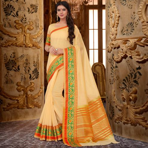 Impressive Light Yellow Colored Festive Wear Cotton Silk Saree