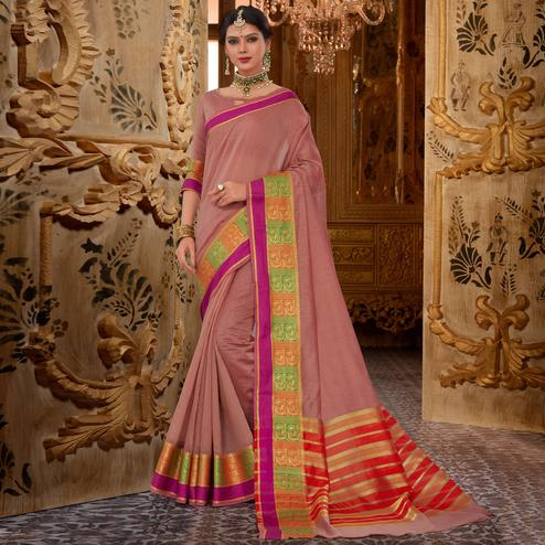 Innovative Pastel Wine Colored Festive Wear Cotton Silk Saree