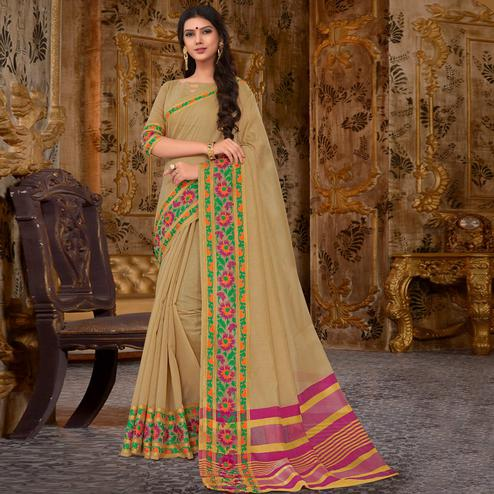 Arresting Light Olive Green Colored Festive Wear Cotton Silk Saree