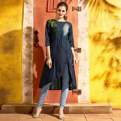 Smart Blue Denim Designer Embroidered Kurti
