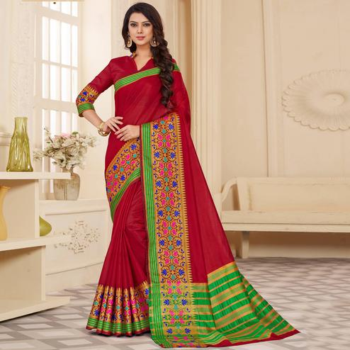 Elegant Maroon Colored Festive Wear Woven Cotton Silk Saree