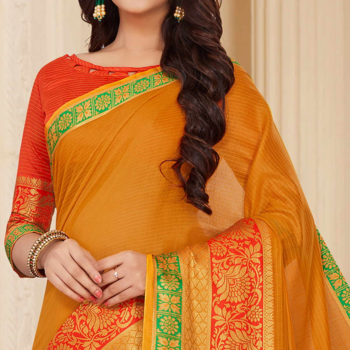 Traditional Mustard Yellow Colored Festive Wear Woven Cotton Silk Saree